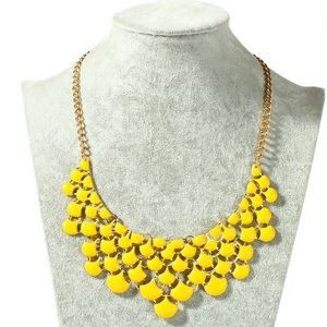 Yellow Enameled Statement Necklace